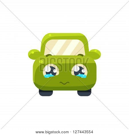 Begging Green Car Emoji Cute Childish Style Character Flat Isolated Vector Icon