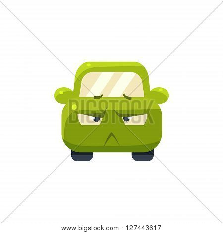 Doubtful Green Car Emoji Cute Childish Style Character Flat Isolated Vector Icon