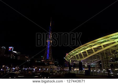NAGOYA JAPAN - January 22, 2016: Oasis 21 in Nagoya Japan on January 22, 2016., A shopping complex nearby Nagoya Tower its large oval glass roof structure floats above ground level