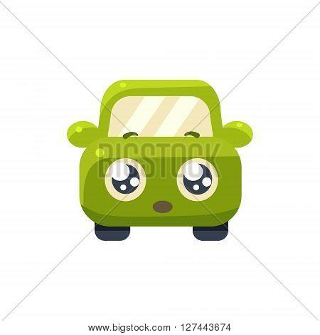 Hopeful Green Car Emoji Cute Childish Style Character Flat Isolated Vector Icon