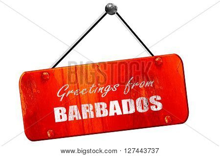 Greetings from barbados card with some soft highlights, 3D rendering, red grunge vintage sign