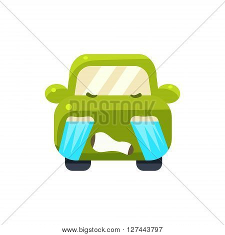Tearful Green Car Emoji Cute Childish Style Character Flat Isolated Vector Icon