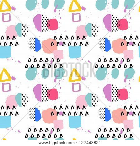 Pattern of retro vintage 80s or 90s style. Memphis abstract seamless pattern background. Memphis style for textile fabric design. Vector illustration.