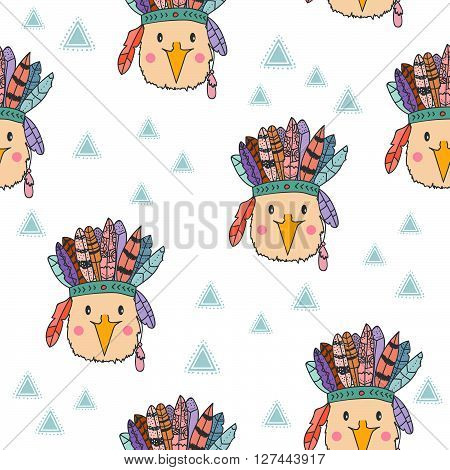 Vector tribal pattern with rabbit in headband with feathers. Hand drawn vector pattern for children fabric, close, room decoration. Cute bunny vector illustration