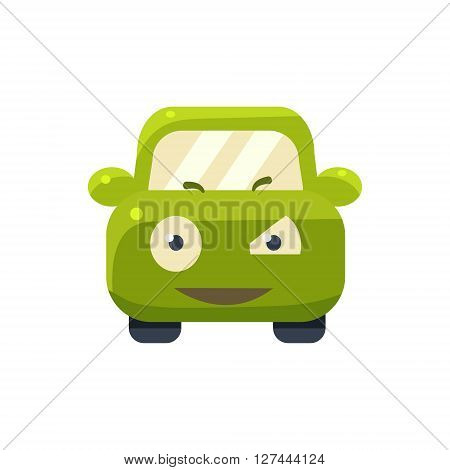 Suspicious Green Car Emoji Cute Childish Style Character Flat Isolated Vector Icon