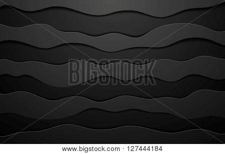 Black concept wavy abstract background. Vector dark graphic design