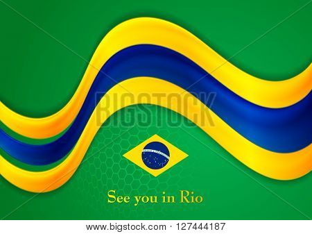 Brazil colors abstract corporate smooth wavy background. Vector graphic design