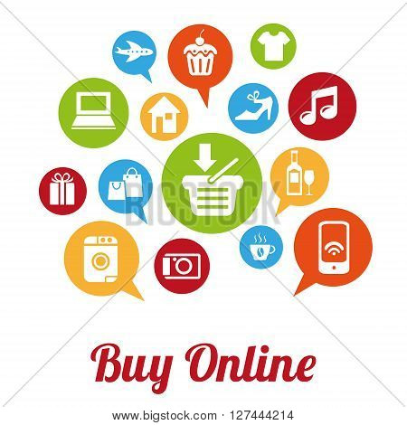 Internet and Online Shopping Concept. Buy Online. Vector illustration. Retro style design