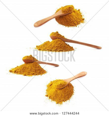 Wooden spoon over the pile of yellow curry powder isolated over the white background, set of four different foreshortenings