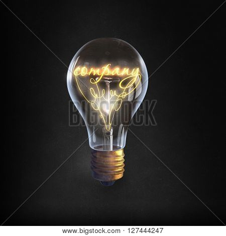 Glass bulb on black background