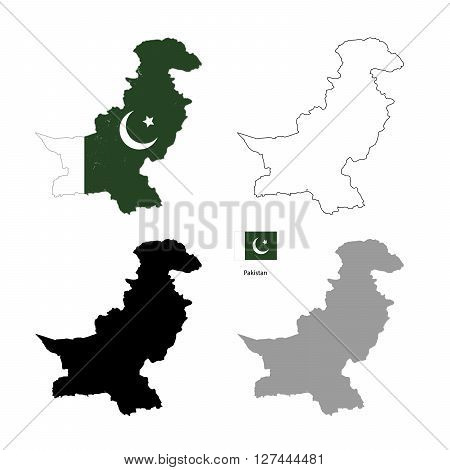 Pakistan country black silhouette and with flag on background isolated on white