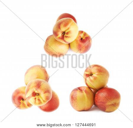 Pile of multiple ripe nectarines, composition isolated over the white background, set of three different foreshortenings