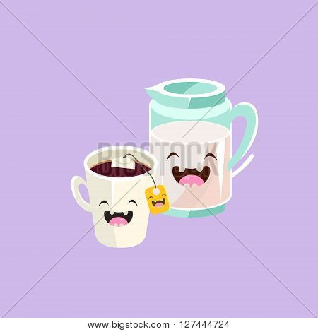 Milk And Tea Cartoon Friends Colorful Funny Flat Vector Isolated Illustration On White Background