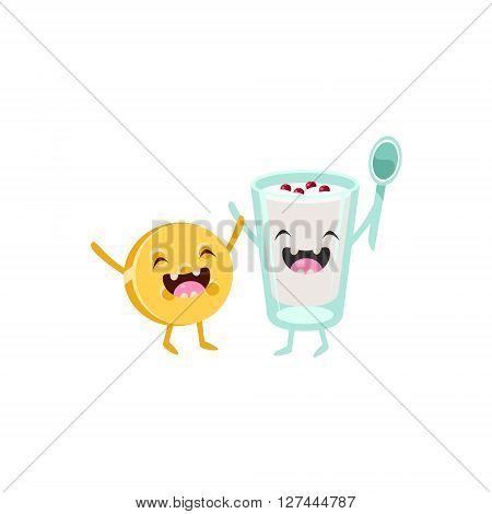 Yoghurt And Biscuit Cartoon Friends Colorful Funny Flat Vector Isolated Illustration On White Background