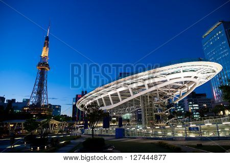 NAGOYA JAPAN - April 22, 2016:Oasis 21 and TV Tower in Sakae. Oasis 21 is a modern facility located adjacent to Nagoya TV Tower in Sakae.