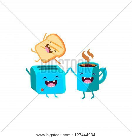 Toaster And Coffee  Cartoon Friends Colorful Funny Flat Vector Isolated Illustration On White Background