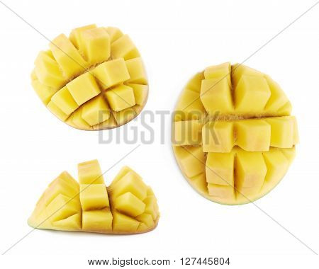 Ripe mango fruit hadgehog isolated over the white background, set of three different foreshortenings