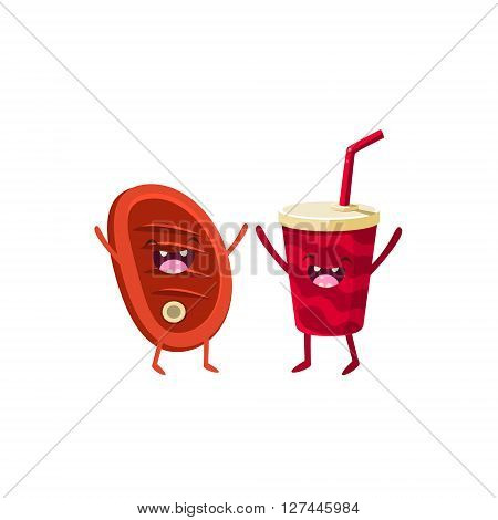 Meat And Soda Cartoon Friends Colorful Funny Flat Vector Isolated Illustration On White Background