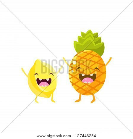 Lemon And Pineapple Cartoon Friends Colorful Funny Flat Vector Isolated Illustration On White Background