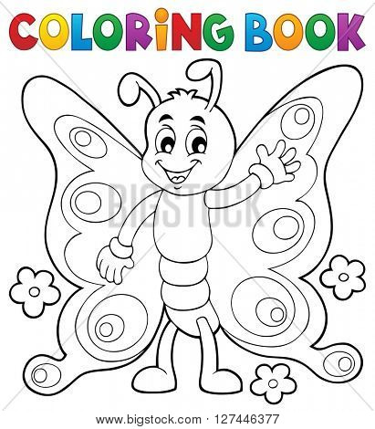 Coloring book cheerful butterfly theme 1 - eps10 vector illustration.