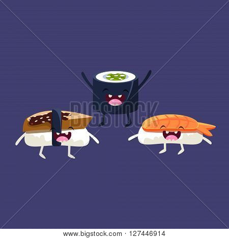 Sushi And Miso Soup Cartoon Friends Colorful Funny Flat Vector Isolated Illustration On Blue Background