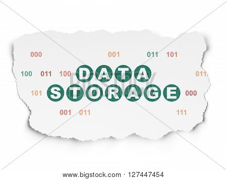 Information concept: Painted green text Data Storage on Torn Paper background with  Binary Code