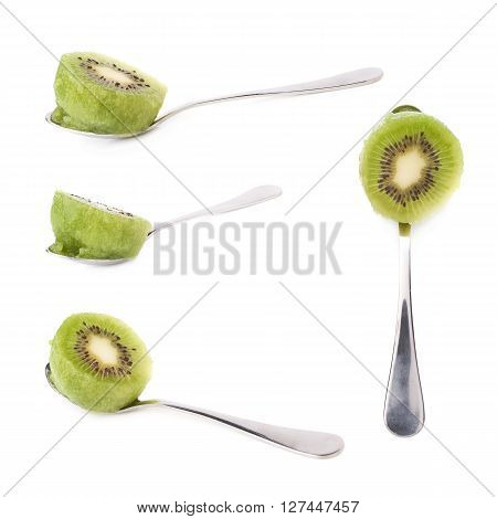 Kiwifruit chinese gooseberry fruit served in a teaspoon, composition isolated over the white background, set of four different foreshortenings