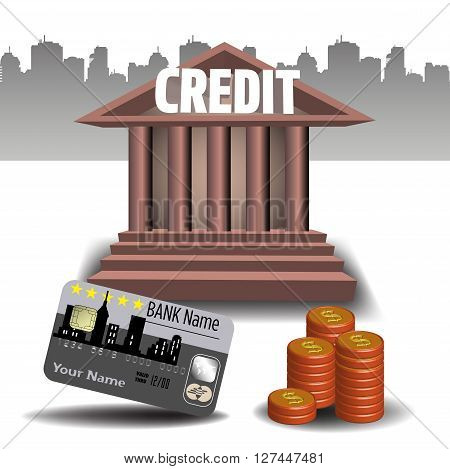 Colorful illustration with stack of coins, credit card and the word credit written on a bank building. Bank credit concept