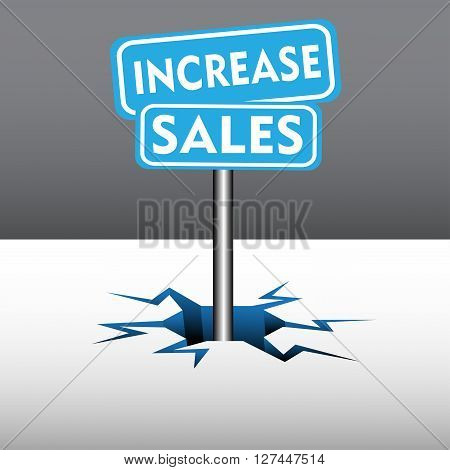 Abstract colorful background with two blue plates with the text increase sales coming out from an ice crack