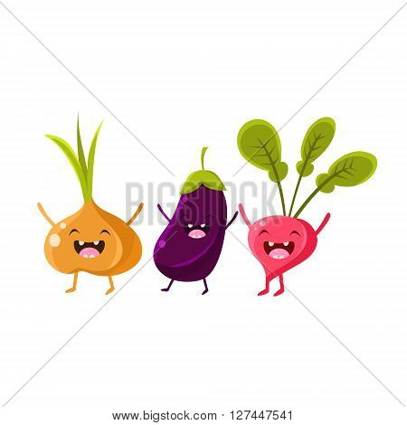 Onion, Eggplant And Radish Cartoon Friends Vector Isolated Illustration On White Background