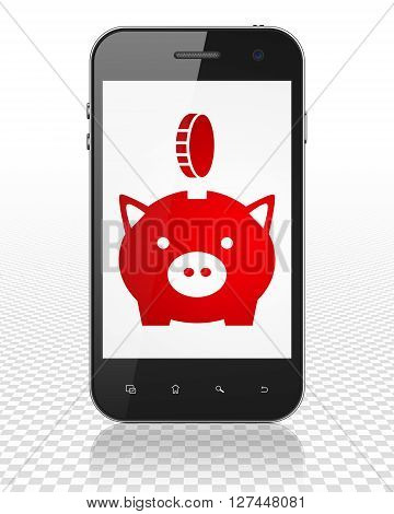 Banking concept: Smartphone with red Money Box With Coin icon on display, 3D rendering