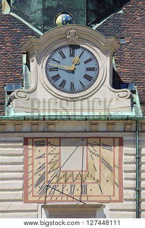 Sundial and Public Clock in Vienna Austria