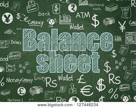 Currency concept: Chalk Blue text Balance Sheet on School board background with  Hand Drawn Finance Icons, School Board