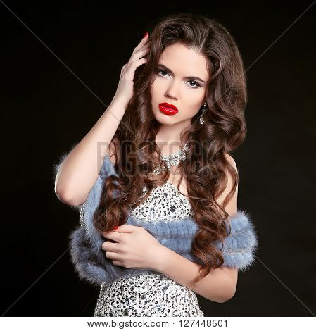 Beauty Fashion Portrait Of Young Beautiful Brunette Girl In Luxury Dress With Blue Mink Fur Coat, Wo