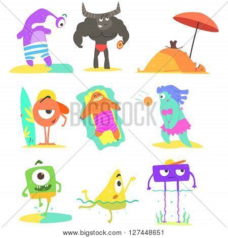 Monsters  On The Beach Childish Funny Flat Vector Illustrations Set Isolated On White Background