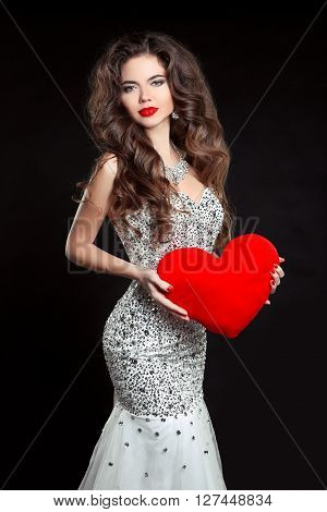 Beautiful Sexy Brunette Woman Present Red Heart, Valentine's Day. Elegant Girl Model With Long Wavy