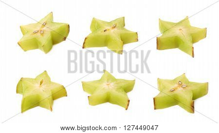 Averrhoa carambola starfruit cross-section slice isolated over the white background, set of six different foreshortenings