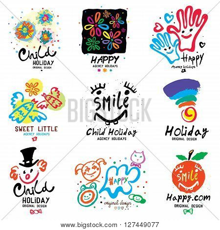 Children holiday logo and illustrations. Happy festival symbol, emblem: birthday, kids vacation. Colorful summer icons handmade  illustrations.