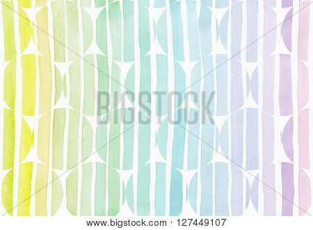 Horizontal seamless background with handdrawn ink circles in freehand style with stripe gradient texture imperfect grainy bright on white watercolor paper illustration for your presentation or design