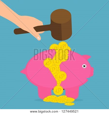 Hand hold wood hammer destroyed piggy bank on a pile of coins . Vector illustration flat design money savings concept.