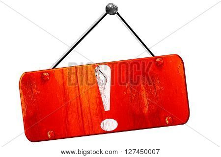 Hazard warning sign with an exclamation mark, 3D rendering, red grunge vintage sign