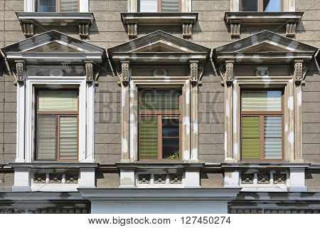 Three Windows at Classic Style Building in Vienna