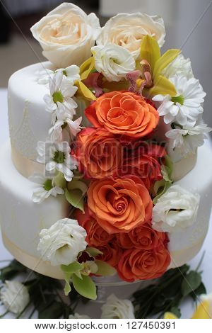 Cake Decorated With Butter-cream Roses