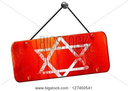 Star of david, 3D rendering, red grunge vintage sign
