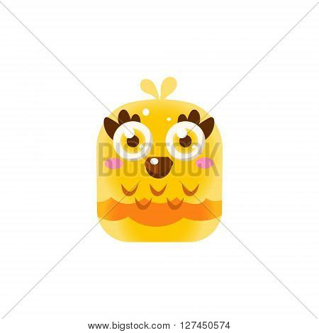 Yellow Adorable Chick Square Icon Colorful Bright Childish Cartoon Style Icon Flat Vector Design Isolated On White Background