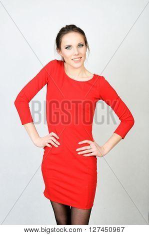 Happy Girl In Red Dress