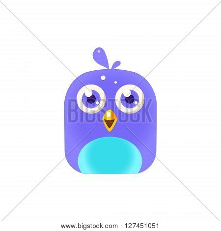 Blue  Chick Square Icon Colorful Bright Childish Cartoon Style Icon Flat Vector Design Isolated On White Background