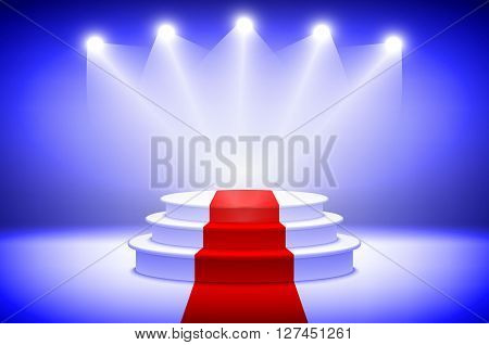 3D Illustration Of Photorealistic Winner Podium Stage With Blue Stage Lights Background. Used For Pr