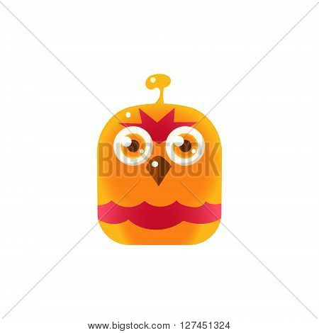 Orange Angry Chick Square Icon Colorful Bright Childish Cartoon Style Icon Flat Vector Design Isolated On White Background