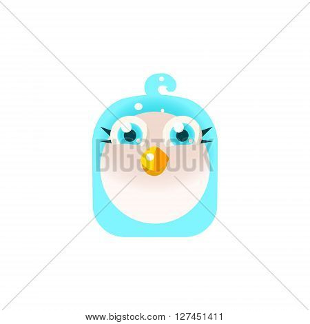 Blue Adorable Chick Square Icon Colorful Bright Childish Cartoon Style Icon Flat Vector Design Isolated On White Background